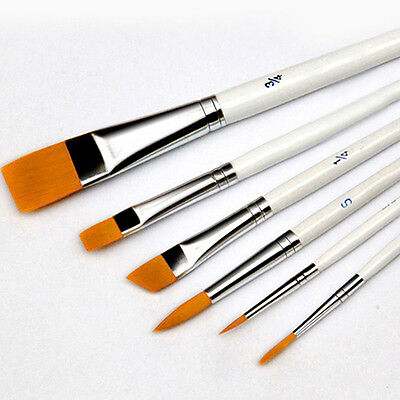 6x Art Painting Brushes Set Acrylic Oil Watercolor Artist Paint Brush Goodish