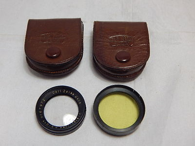 2 x CARL ZEISS JENA FILTERS ~ DISTARLINSE & YELLOW Coa LIGHT + LEATHER CASES