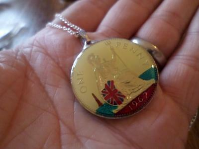 Vintage One Penny Coin 1967 Enamelled Pendant & Necklace 50Th Birthday Xmas Gift