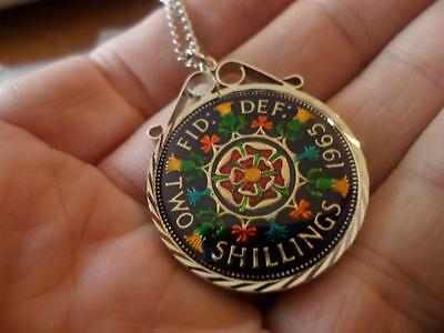 Vintage Enamelled Two Shilling Coin 1965 Pendant & Necklace. Birthday Xmas Gift