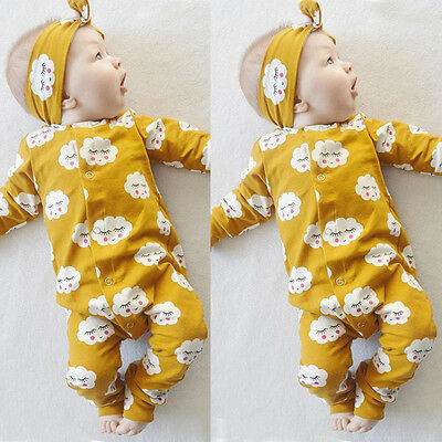 Toddler Baby Girls Infant Cotton Romper Jumpsuit Outfit Set Pajamas Sleepwear