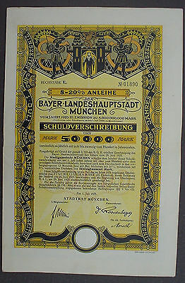 City of Munich 50000 Mark 8-20% Bond to Bearer uncacelled +complete coupon sheet