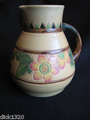 """NICE ART DECO H.TOOTH & CO/BRETBY 'PEASANT' 8.5"""" HAND THROWN FLORAL VASE c.30's"""