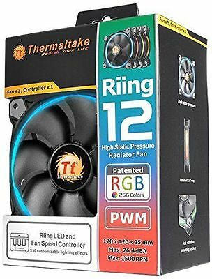 Thermaltake Ventilateur PC 120mm Riing 12 LED RGB (Pack de 3) [Noir]  NEUF