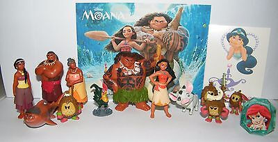 Disney Moana Movie  Figure Set of 14 with Figures, Ring,Tattoo US Seller