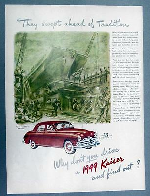 Original 1949 Kaiser Special Ad SWEPT AHEAD OF TRADITION .. DRIVE AND FIND OUT
