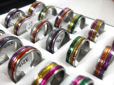 15pcs colourful 2 tone Stainless steel Rings Jewelry lots
