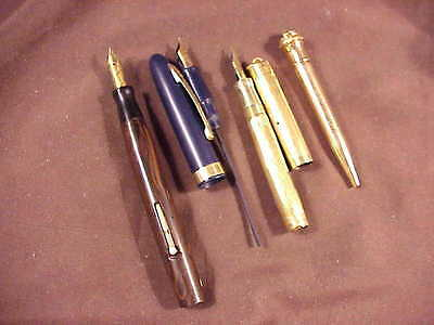 Eversharp, 4 Items For Parts/restoration, 3 Pens/1 Pencil, 3 Excellent 14K Nibs