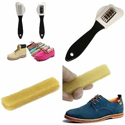 3 Sides Cleaning Brush + Rubber Eraser Set for Suede Nubuck Shoes Cleaner Tool