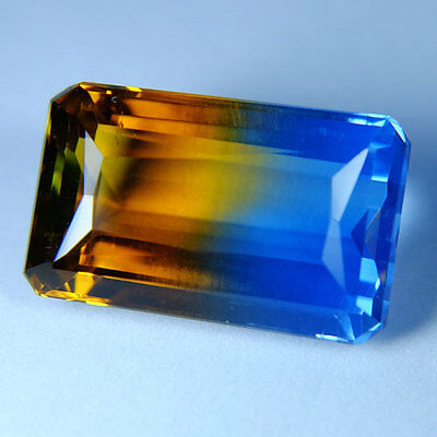 19.35ct.AWESOME BI-COLOR AMETRINE YELLOW BLUE OCT GEM