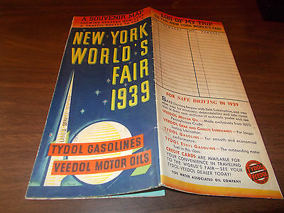 1939 Tydol NY World's Fair/New York City Vintage Road Map / Great Cover /Rare !!