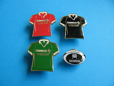 4, Guinness Rugby Pin Badges. VGC. Unused. Enamel.