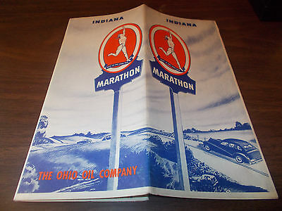 1940 Marathon Oil Company Indiana Vintage Road Map / Nice Cover Art !!