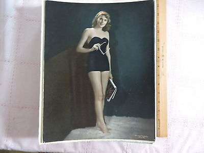 "1940s Tom Melvin original mounted 11x14"" photograph portrait SEXY swimsuit color"