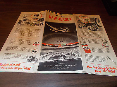 1941 Tydol/Flying A New Jersey Vintage Road Map / Great Cover