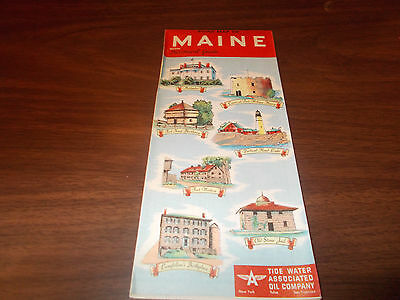 1952 Tydol/Flying A Maine Vintage Road Map / Great Cover