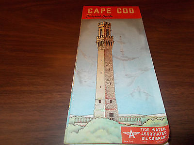 1952 Tydol/Flying A Cape Cod Vintage Road Map / Great Cover
