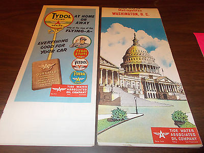 1953 Tydol/Flying A Washington, DC Vintage Road Map / Great Cover