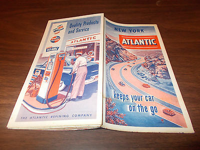 1951 Atlantic New York Vintage Road Map/ Near-Mint