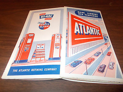 1950 Atlantic Maine/New Hampshire/Vermont Vintage Road Map/ Near-Mint
