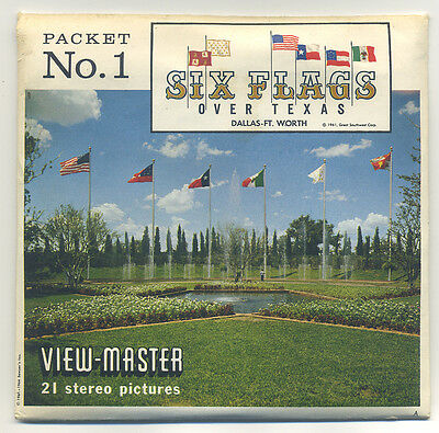Six Flags over Texas 1 Theme Park 1964 Sawyer's View-Master Packet A-412 Exc.