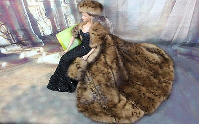 ~Leopard Print Mink Fur Cape Hat Muff for Sydney Gene Sybarite dolls~by dimitha~