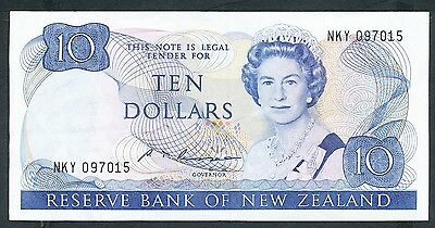 New Zealand - 1985-9 10 Dollar. P.172b. Folds, VF.