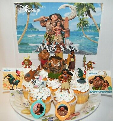 Disney Moana Movie Cake Toppers Set of 14 with Figures, Ring US Seller