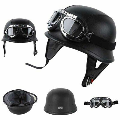 DOT German Black Leather Motorcycle Half Face Helmet Biker Pilot Goggles M/L/XL