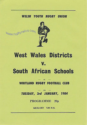 West Wales District v South African Schools 3 Jan 1984 Rugby Programme