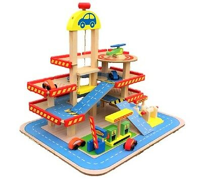 Wooden Garage Playset Car Wash 3 Story Parking Gas Station Helicopter Figure Toy