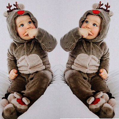 Newborn Baby Clothes Girls Boys Deer Romper Jumpsuit Winter Warm Outwear Outfits