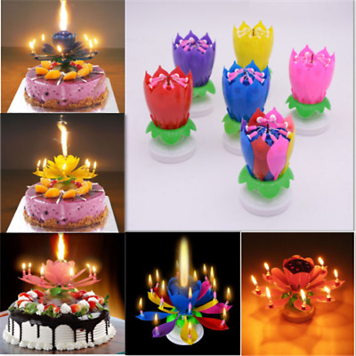 Musical Lotus Flower Candle Birthday Party Cake Rotating Light Lamp Candel Decor