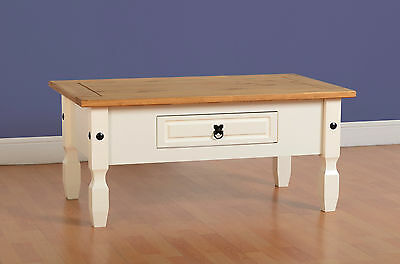 Corona 1 Drawer Coffee Table in White With Distressed Waxed Pine Top