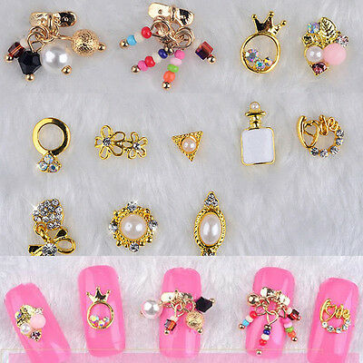 14PCS 3D Nail Art GOLDEN Flower Ring Decoration Alloy/Pearl Rhinestone Jewelry