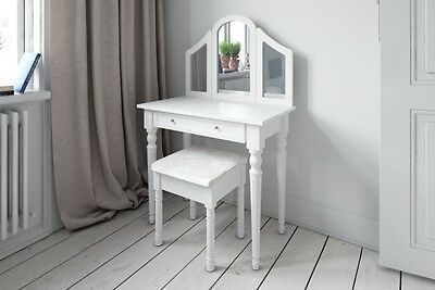 Dressing Table Set White with Stool Large 3 Panel Mirror Bedroom Makeup Table
