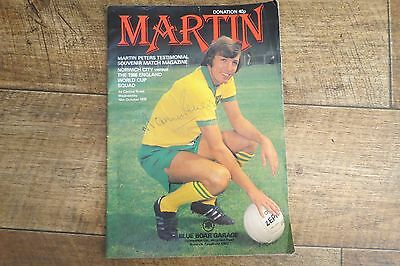 MARTIN PETERS HAND SIGNED TESTIMONIAL PROGRAMME  NORWICH v 1966 ENGLAND