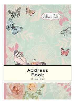 A5 Telephone Address Book Butterfly & Rose Design Hard Back Index Directory GIAB