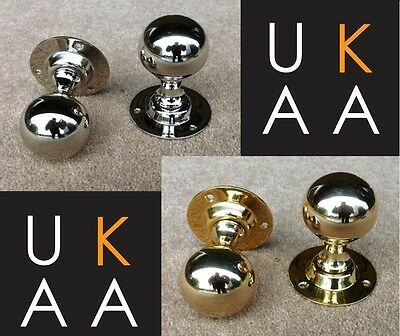 Pair Of Round Door Knobs Traditional Antique Ball Style - Antique Brass  Nickel