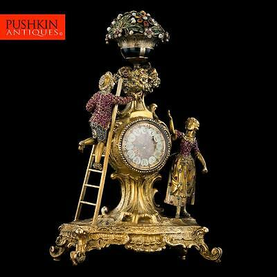 ANTIQUE 19thC AUSTRIAN JEWELLED, SOLID SILVER GILT & ENAMEL MANTEL CLOCK c.1890