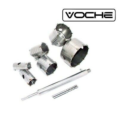 VOCHE 10PC TCT CORE DRILL SET 35 40 50 65 82 110mm - 300mm SDS+ EXTENSION SHANK