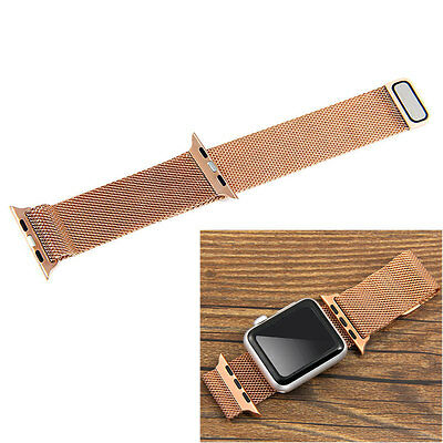 Rose Gold Milanese Magnetic Loop Steel Watch Band Strap for 38mm Apple iWatch