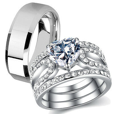 His Hers 4 Piece Stainless Steel Heart Shape CZ Wedding Engagement Ring Band Set