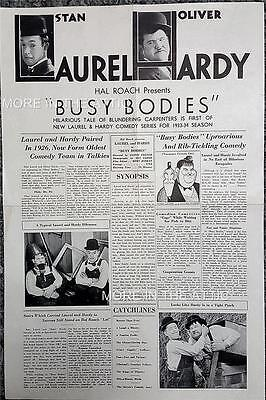 Stan Laurel & And Oliver Hardy Orig Hal Roach Rare Busy Bodies Us Pressbook
