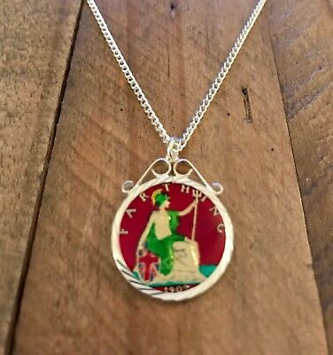 Vintage Enamelled Farthing Coin 1902 Pendant & Necklace. Christmas Birthday Gift