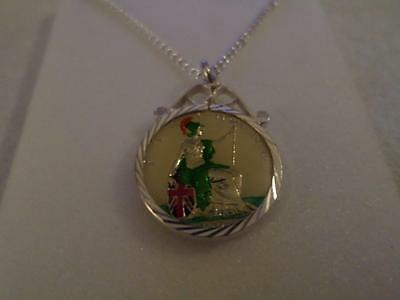 Vintage Enamelled Farthing Coin 1905 Pendant & Necklace. Christmas Birthday Gift