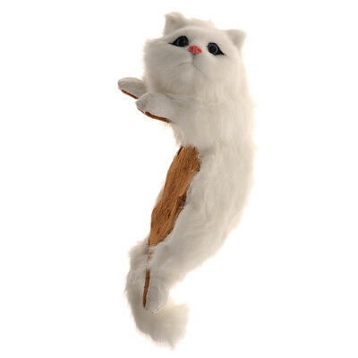 Lifelike Ragdoll White Cat Hanging Ornament Figurine Artist Handwork Kid Toy