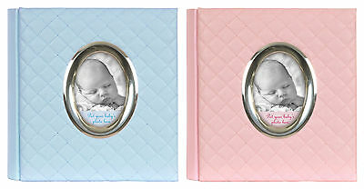 Baby First Photo Album 6x4 Holds 200 Photos Boy or Girl QUILTED Memo Slip Gift