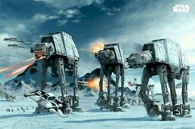 STAR WARS ~ AT-AT WALKERS ~ 24x36 ART POSTER ~ EMPIRE STRIKES BACK Hoth Battle