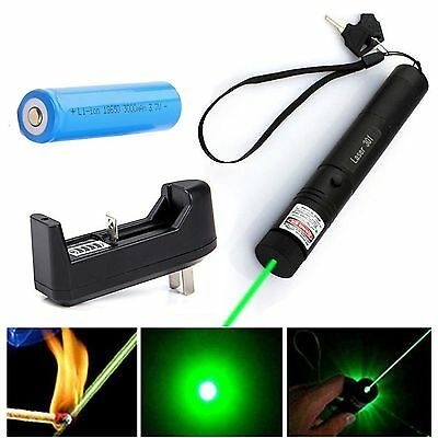 532nm Zoomable Focus Burning Green Red Laser Pointer Pen 301+ Battery+ Charger